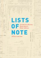 Lists of Note : An Eclectic Collection Deserving of A Wider Audience