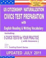 US Citizenship / Naturalization Civics Test Preparation With English Reading & Writing Vocabulary