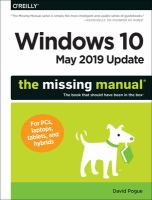 Windows 10, May 2019 update : the missing manual, the book that should have been in the box