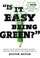 """Is It Easy Being Green?"""