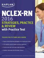 Nclex-rn 2016 Strategies, Practice and Review With Practice Test