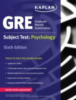 GRE, Graduate Record Examination Subject Test: Psychology