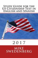 Study Guide for the US Citizenship Test in English and Spanish