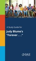 "A Study Guide for Judy Blume's ""forever . . ."""