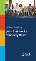 "A Study Guide for John Steinbeck's ""cannery Row"""