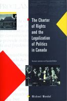The Charter Of Rights & The Legalization Of Politics In Canada