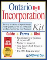 Ontario Incorporation Kit