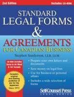 Standard Legal Forms and Agreements for Canadian Business