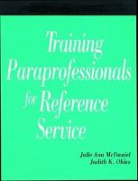 Training Paraprofessionals for Reference Service