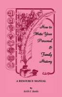 How to Write your Personal & Family History
