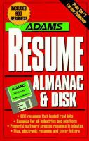 Adams Resume Almanac & Disk