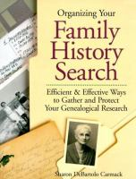 Organizing your Family History Search