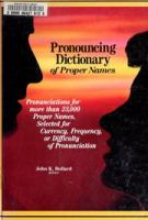 Pronouncing Dictionary of Proper Names