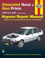 Chevrolet Nova & Geo Prizm Automotive Repair Manual
