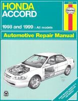 Honda Accord Automotive Repair Manual 1998 and 1999