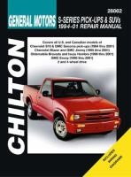 Chilton's General Motors S-series Pick-ups & SUVs 1994-01 Repair Manual