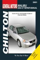 Chilton's General Motors Malibu 2004-07 Repair Manual