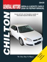 Chilton's General Motors Chevrolet Impala & Monte Carlo 2006-08 Repair Manual