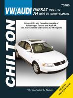 Chilton's VW/Audi : Passat 1998-05, A4 1996-01 Repair Manual