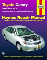 Toyota Camry and Lexus ES 300 330 Automotive Repair Manual