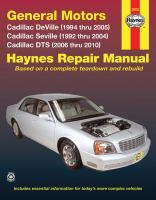 General Motors Cadillac DeVille, Seville and DTS Automotive Repair Manual
