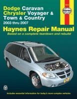 Dodge Caravan, Chrysler Voyager and Town & Country Automotive Repair Manual