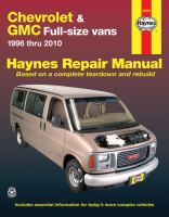 Chevrolet Express and GMC Savana Full-size Vans Automotive Repair Manual