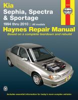 Kia Sephia, Spectra & Sportage Automotive Repair Manual