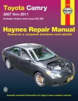 Toyota Camry and Lexus ES 350 Automotive Repair Manual
