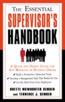 The Essential Supervisor's Handbook
