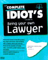 The Complete Idiot's Guide to Protecting Yourself From Everyday Legal Hassles