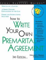 How to Write your Own Premarital Agreement