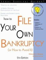 How to File your Own Bankruptcy (or How to Avoid It)