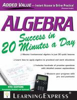 Algebra Success in 20 Minutes A Day