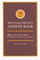 Beginning Writer's Answer Book