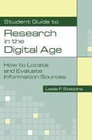 Student Guide to Research in the Digital Age