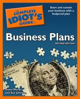 The Complete Idiot's Guide to Business Plans