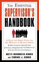 The Essential Supervisor's Handbook