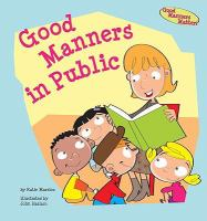 cover of Marsico's book, Good Manners in Public, with adult reading to kids picture