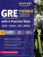 GRE Graduate Record Examination Premier 2015