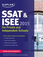 SSAT & ISEE for Private and Independent School Admissions, 2015