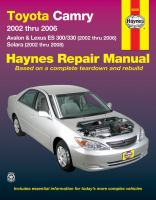 Toyota Camry and Lexus ES 300/330 Automotive Repair Manual