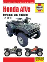 Honda Foreman & Rubicon ATVs Service and Repair Manual