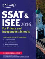 SSAT & ISEE for Private and Independent School Admissions 2016