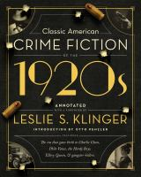 Classic American Crime Fiction of the 1920s