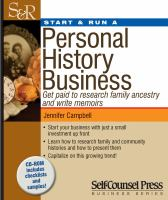 Start and Run A Personal History Business
