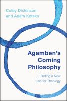 Agamben's Coming Philosophy