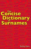 The Concise Dictionary of Surnames