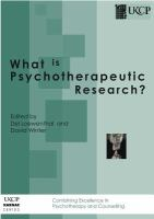 What Is Psychotherapeutic Research?
