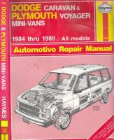 Dodge Caravan & Plymouth Voyager Mini-vans Automotive Repair Manual